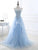A-Line Sweetheart Tulle Blue Appliqued Prom Dresses With Beading VB5263