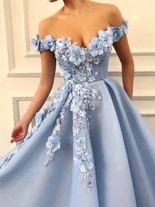 A Line Blue Off the Shoulder Tulle Lace Sweetheart 3D Flowers Prom Dresses Formal Dress VB5264