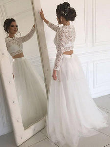 Long Sleeve Lace Ivory Cheap Wedding Dresses with Tulle Beach Bridal Dresses VB5266