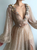 A-Line Sequins V Neck Prom Dresses African Evening Dress With Sleeve VB5279