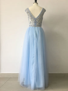 A-line Bateau Floor-length Sleeveless Tulle Prom Dress/Evening Dress # VB528