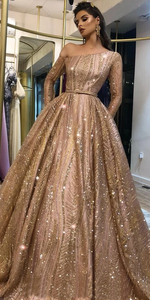 Sparkly Vintage One Shoulder A-line Sequin Long Sleeves Prom Dress VB5280