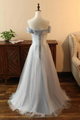 Gray Off-the-shoulder Vintage Cheap Prom Dress Applique Formal Gowns VB5294
