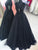 Sequins A Line Black Prom Dress Unique Cheap Party Dresses VB5302