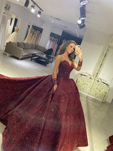 Vintage Ball Gown Wedding Dresses Sequins Long Sleeve Bridal Gowns VB5304
