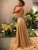 A Line Gold Sequins Prom Dress Backless Cheap Party Vintage Dresses VB5311