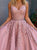 Two Piece A Line Prom Dress Pink Lace Beauty Prom Dresses VB5314