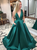 A Line Green Satin Cheap Prom Dress V Neck Beauty Prom Grown VB5323
