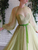 Tulle Long Sleeve Prom Dress Beading Sage African Prom Grown VB5333