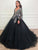 Ball Gown Black Prom Dress Vintage Tulle Prom Grown With Sleeve VB5337