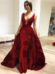 Mermaid Sequins Prom Dress Red Vintage Beauty Prom Grown VB5338