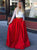 Two Piece Red Prom Dress Beauty Lace Cheap Prom Grown With Sleeve VB5344