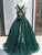 Ball Gown Sequins Prom Dress Green Plus Size Sleeveless Prom Grown VB5346