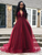 Chic A Line Prom Dress V Neck Cheap Burgundy Prom Grown VB5367