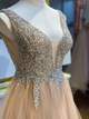 A Line V Neck Prom Dress With Beaded Beauty Prom Grown VB5375