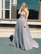 A Line Cheap Prom Dress Appliques Tulle Sleeveless Evening Dress VB5377