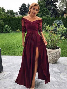 Chiffon Burgundy Prom Dress With Sleeve Cheap A Line Evening Dress VB5381