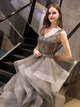 Ball Gown Silver Prom Dress Beading Tulle Sleeveless Evening Dress VB5389