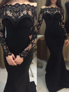 Mermaid Black Prom Dress Off The Shoulder Satin Evening Dress VB5390