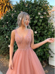 Beading V Neck Prom Dress Tulle A Line Beauty Evening Dress VB5395