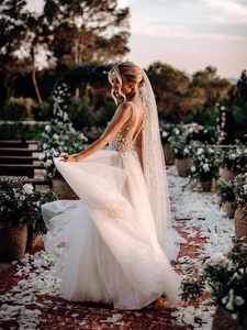 A Line Ivory Wedding Dresses V Neck Tulle Beauty Bridal Gowns VB5399