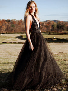 Black Backless Prom Dress Cheap A Line Tulle Evening Dress VB5406