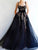 Vintage Black Prom Dress A Line Tulle Straps Evening Dress VB5407