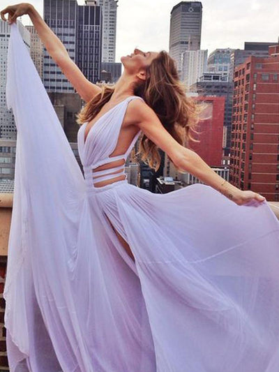 A Line Prom Dress Simple Modest Elegant Cheap Long Chiffon Prom Dress #VB540
