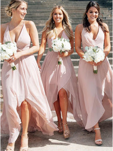 Asymmetrical Pink Bridesmaid Dress Backless Wedding Party Dress # VB5410