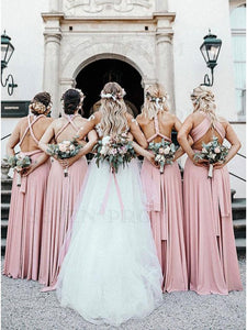 Popular Convertible Long Open Back Pink Bridesmaid Dress with Pleats # VB5411