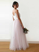 Chic Spaghetti Straps Prom Dress A Line Cheap Tulle Evening Dress VB5416