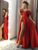 Off The Shoulder Satin Prom Dress A Line Cheap Red Evening Dress VB5421