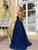 Dark Navy A Line Cheap Prom Dress Tulle African Evening Dress VB5431