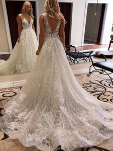 Luxurious Ball Gown Open Back Ivory Lace Wedding Dresses,Sequins Bridal Dresses VB5437