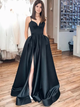 Black Spaghetti Straps Split Prom Dress, A Line Long Satin Formal Dress VB5441