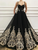 Vintage Black Prom Dress, A Line Long Unique Applique Formal Dress VB5444
