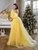 BeryLove Bright Yellow Prom Dress Pink Dot Tulle A-line Long Party Dress Formal Latter Sleeves Elegant Dresses VB5446