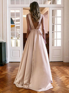 Chic A-Line Sleeveless V-neck Long Cheap Ruffles Prom Dresses VB5457