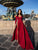 Burgundy Long Sleeve Prom Gown Long Cheap Prom Dresses With Slit VB5459