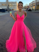 Chic Tulle Spaghetti Straps Prom Dress A Line Cheap Prom Dresses VB5462