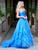 Strapless Embellished Ball Gown Blue Prom Dress Vintage Prom Dresses VB5465