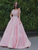 A-Line/Princess Satin Applique Off-the-Shoulder Sweep/Brush Train Dresses VB5475