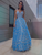 A-Line Princess Prom Dress Lace Blue Beauty Evening Dresses VB5476