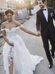 Chic Off The Shoulder Lace Wedding Dresses A line Bridal Gowns VB5485