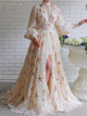 Chic Long Sleeve Prom Dress A Line Chiffon Stars Prom Dresses VB5489