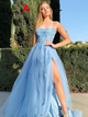 Spaghetti Straps A-line Tulle Slit Cross Back Prom Dress VB5494