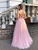 Pink A-line Tulle Floor-Length Halter Backless Sequins Top Prom Dresses VB5496