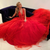 Red Charming A-line Tulle V-neck Sleeveless Appliques Prom Dresses VB5497