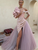 Unique A-line Tulle Off Shoulder Splice Long Slit Prom Dress VB5498