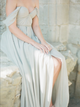 Chiffon Off The Shoulder Sweetheart Open Back Bridesmaid Dress with Slit VB5499